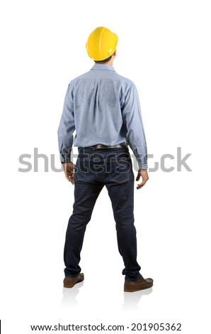 Portrait of standing asian engineer back view isolated on white with clipping path. - stock photo