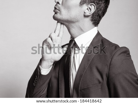 Portrait of stressed businessman. - stock photo