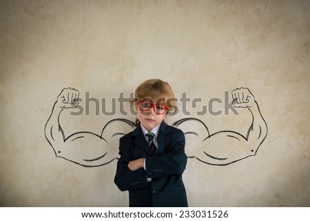 Portrait of strong winner businessman in office. Success in business concept. Copy space for your text - stock photo