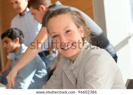Portrait of student girl in training course - stock photo