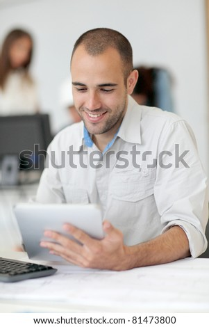 Portrait of student in training course - stock photo