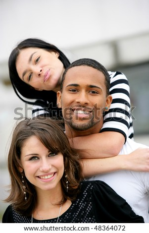 Portrait of students at university - stock photo