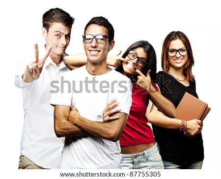 portrait of students group smiling and joking over white background
