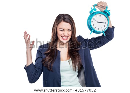 Portrait of stylish beautiful young woman isolated on white background. Woman holding alarm clock - stock photo