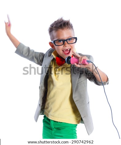 Portrait of Stylish little singer and showman, isolated on white background - stock photo