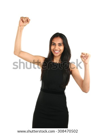 Portrait of successful and excited Asian business woman celebrating a triumph  - isolated over a white background - stock photo