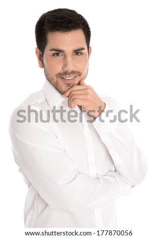 Portrait of successful attractive businessman isolated on white.