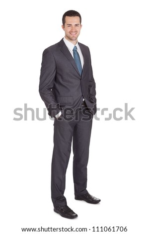 Portrait of successful businessman. Isolated on white - stock photo