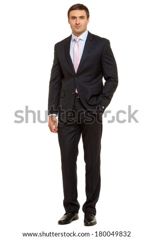 Portrait of successful businessman. Man in suit and tie. Isolated on white