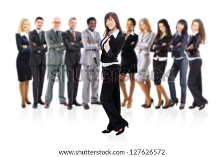 Portrait of successful businesswoman and business team - stock photo