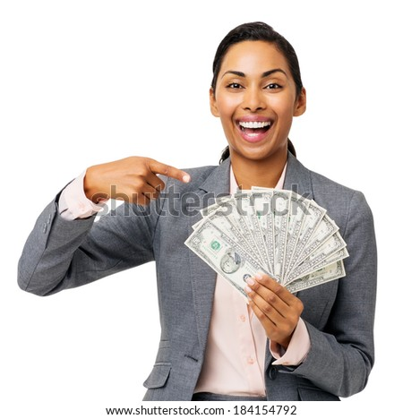 Portrait of successful businesswoman showing fanned out fifty dollar notes against white background. Horizontal shot. - stock photo