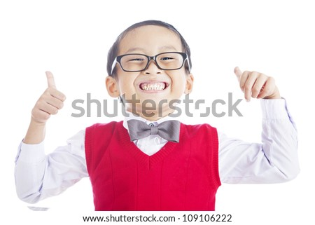 Portrait of successful elementary school student showing his thumbs up on isolated white background