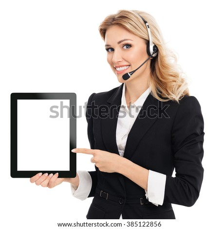 Portrait of support phone operator in headset showing blank no-name tablet pc monitor, with copyspace area for text or slogan, isolated against white background