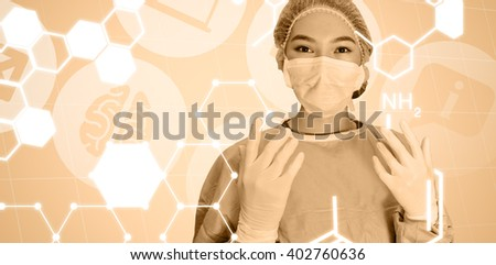 Portrait of surgeon woman reading for surgery against medical icons - stock photo