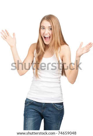 Portrait of surprised beautiful girl  in casual wear with raised arms. Isolated on white background. - stock photo