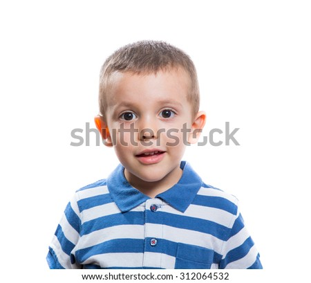 Portrait of surprised beautiful little boy isolated on white background - stock photo