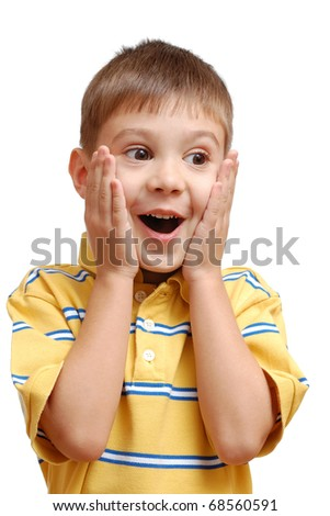 Portrait of surprised child isolated on white background - stock photo