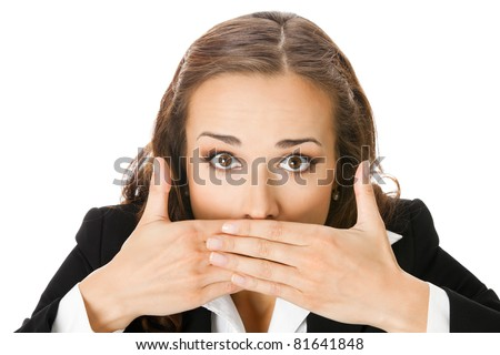 Portrait of surprised excited young business woman covering with hands her mouth, isolated on white background
