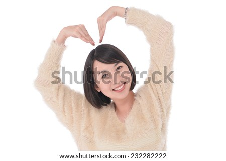 Portrait of surprised funny holding her right palm up while looking at you and standing on isolated white background  - stock photo