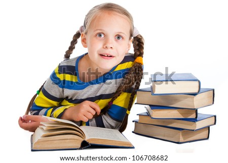 Portrait of surprised girl  reading books on isolated white background