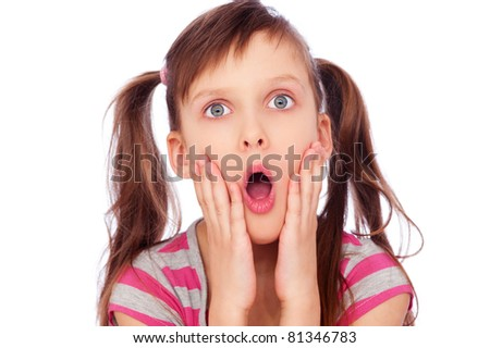 portrait of surprised little girl. isolated on white background - stock photo