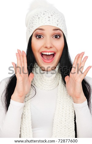 portrait of surprised woman over white background