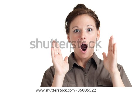 Portrait of surprized young woman with white background. - stock photo