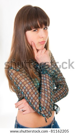Portrait of suspecting teen girl isolated on white background - stock photo