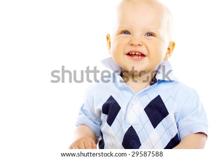 Portrait of sweet little baby boy on white background