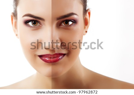 portrait of tanned beauty young woman with beautiful makeup looking at camera and smiling isolated on white background - stock photo