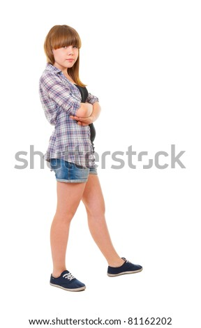 Portrait of teen girl isolated on white background - stock photo
