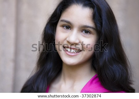 Portrait Of Teen Girl Smiling