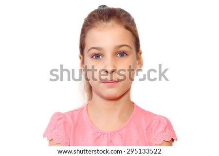 Portrait of teen girl without emotions in pink blouse isolated on white background - stock photo