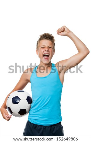 Portrait of teen soccer player with winning attitude.Isolated on white. - stock photo