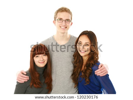 portrait of 3 teens blond,brunette,redhead isolated on white