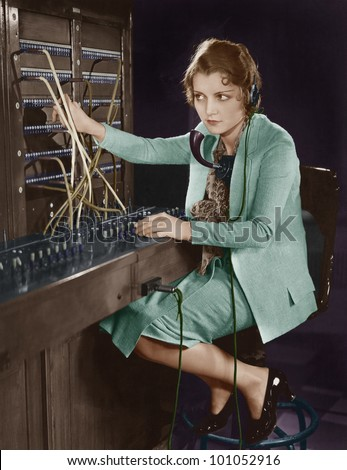 Portrait of telephone operator - stock photo