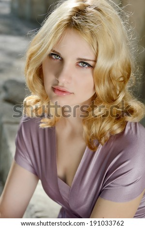 portrait of tender young blonde girl  - stock photo