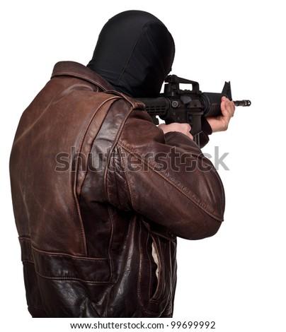 portrait of terrorist back view - stock photo