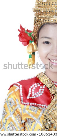 Portrait of Thai young lady in an ancient Thailand dance wea with isolated white background. - stock photo
