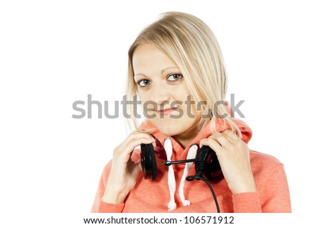 portrait of the a happy girl with headphones isolated - stock photo