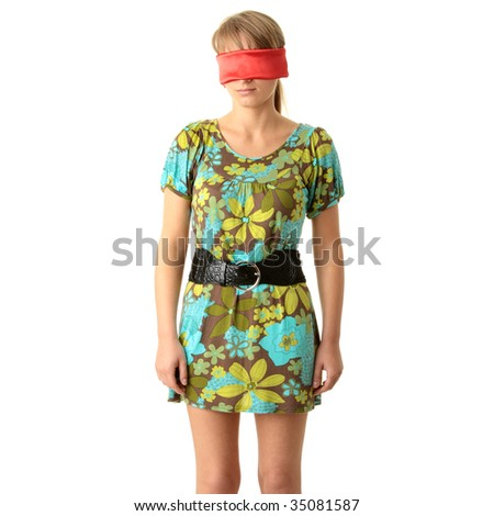 Portrait of the attractive blonde with covered eyes  in green summer dress isolated on white background - stock photo