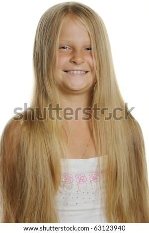Portrait of the attractive girl of the blonde close up. It is isolated on a white background - stock photo