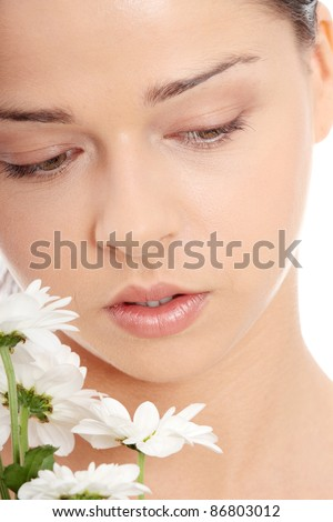 Portrait of the attractive girl without a make-up, isolated on white background - stock photo