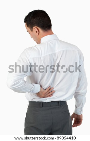 Portrait of the back of a businessman against a white background