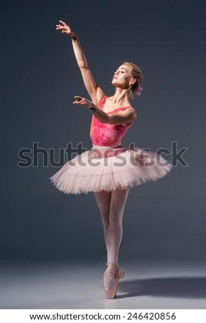 beautiful female ballet dancer on grey stock photo