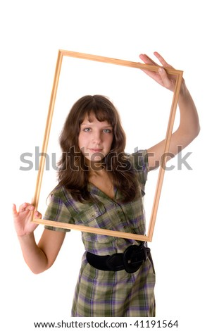 Portrait of the beautiful girl with a frame