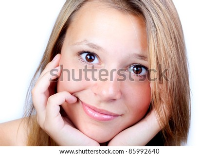 Portrait of the beautiful girl with widely opened eyes. Surprise. - stock photo