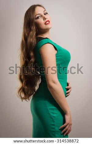Portrait of the beautiful  red hair woman - stock photo