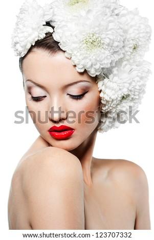 Portrait of the beautiful sweet woman - stock photo