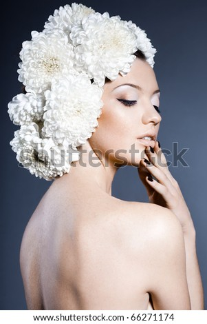 Portrait of the beautiful sweet woman - stock photo
